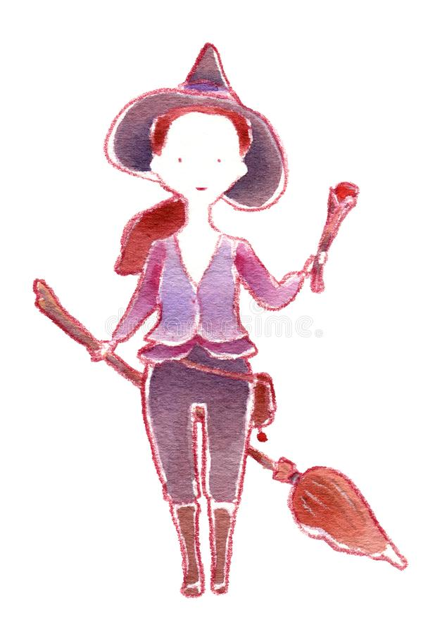 Little witch with broom and magic wand, watercolor vector illustration