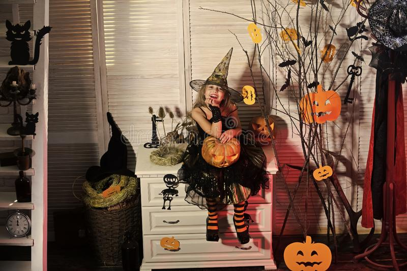Little witch with Halloween decor. Kid in witch hat. And costume holds big carved pumpkin. Halloween party and celebration concept. Girl with cheerful face on royalty free stock images