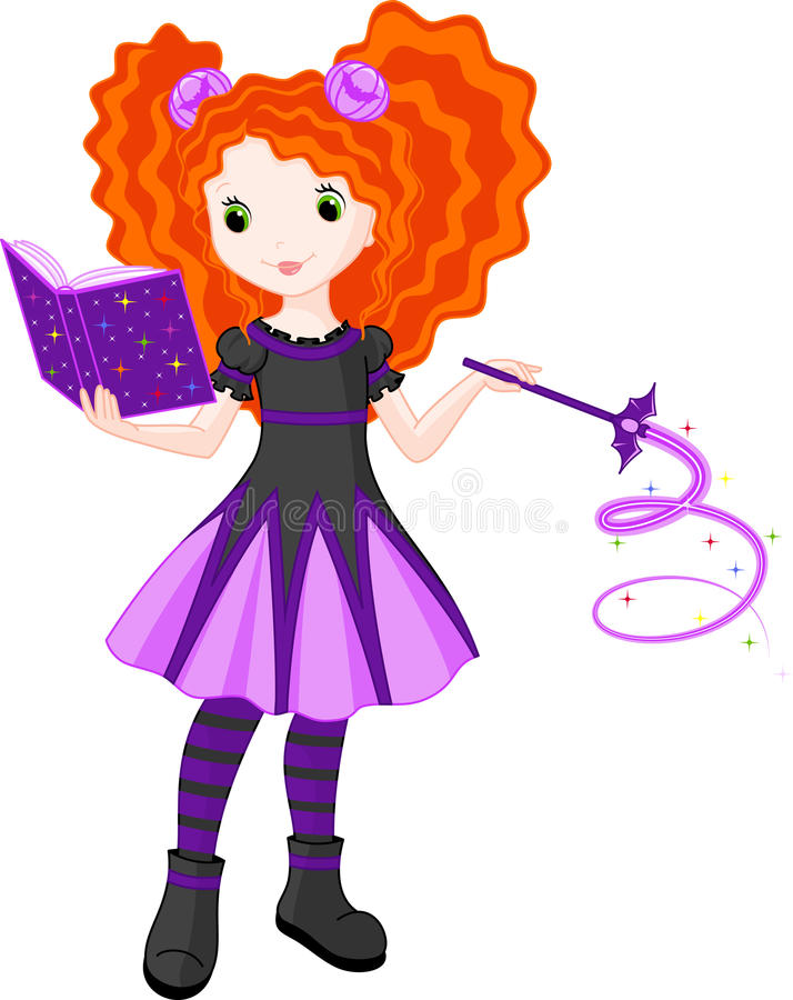 Little Witch. Is learning spells from the magic-book vector illustration