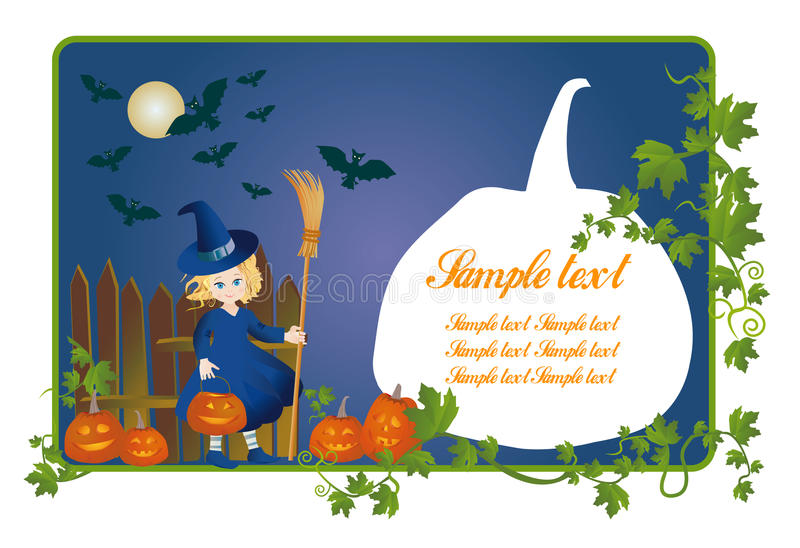 Download Little Witch With A Pumpkin-lantern On Halloween Stock Illustration - Image: 14930335