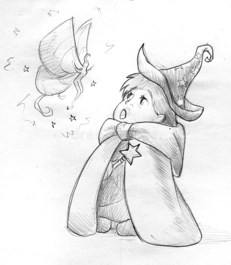 Little wizard meets a fairy - sketch. Hand drawn pencil sketch of a little child wearing wizard hat and robe and holding a wand. He/she is staring in awe at a stock illustration