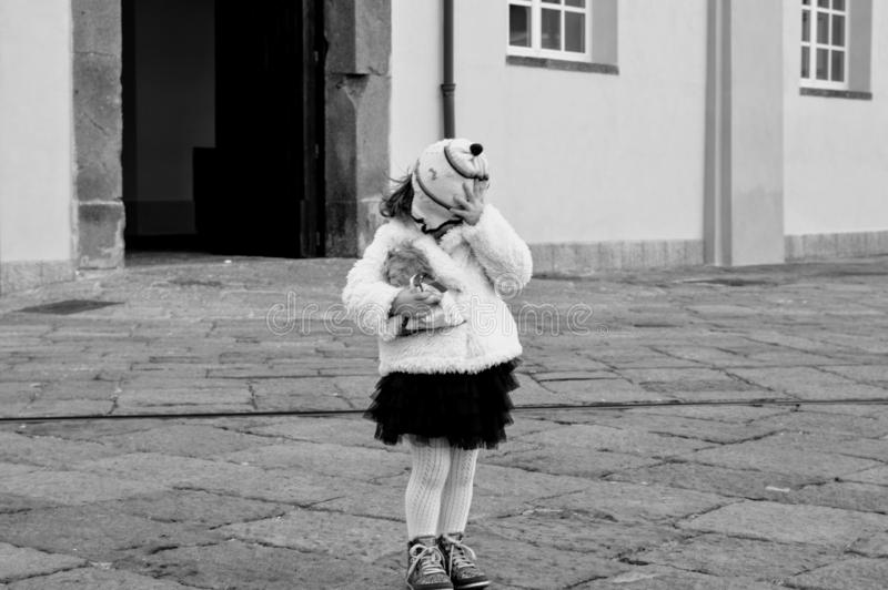 Little woman child in the wind royalty free stock photos