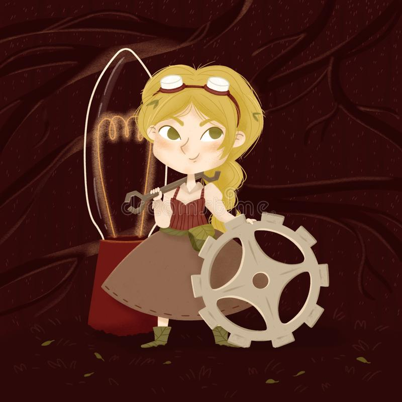 Little woman with gear, wrench and lamp royalty free illustration