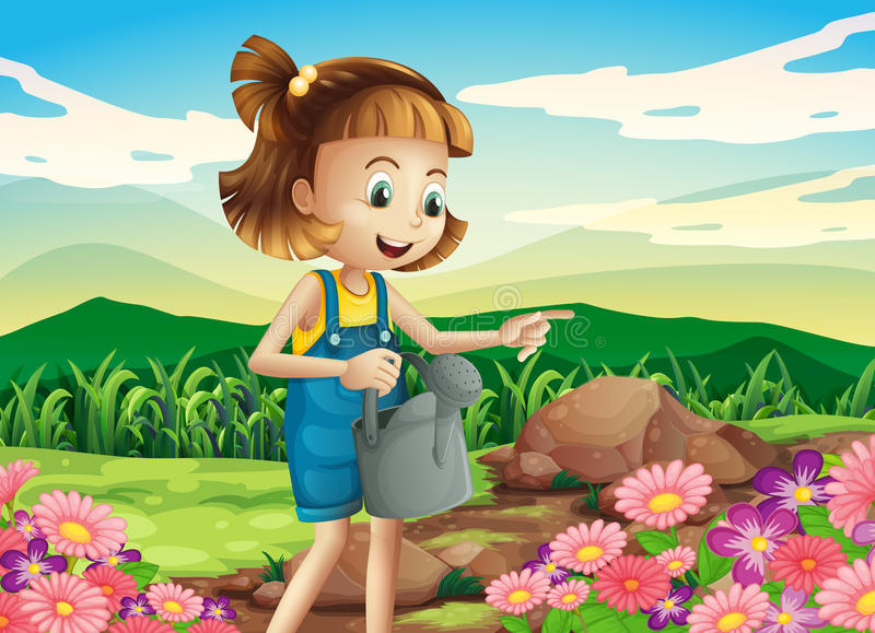 A little woman watering the plants vector illustration