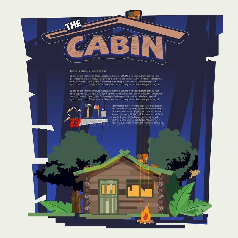 Little wood cabin log in the forest come with tools that build stock illustration