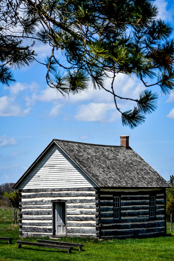 Little Wooden House in the Woods with Open Door royalty free stock images