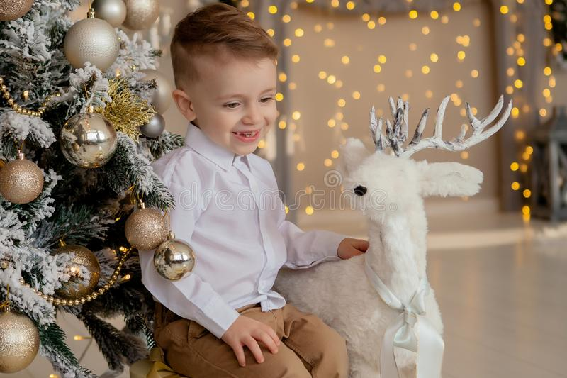 Little 2 years boy hugs stylish wooden Christmas deer decoration near frosted branch hanging Christmas tree beautiful alternative royalty free stock image