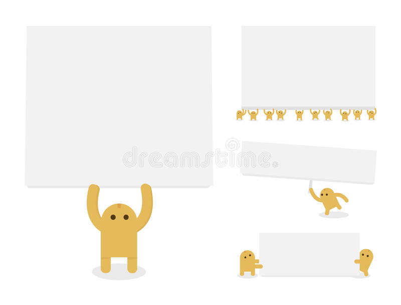 Download Little Yellow Characters Hold Blank Paper Or Banne Stock Vector - Image: 35303512