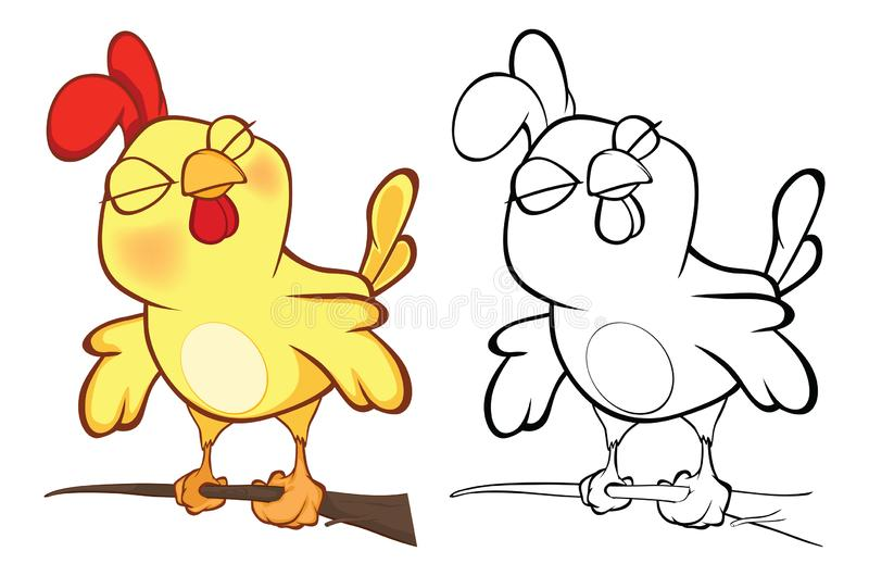 Vector llustration of a Cute Little Chicken Cartoon Character. Coloring Book royalty free illustration