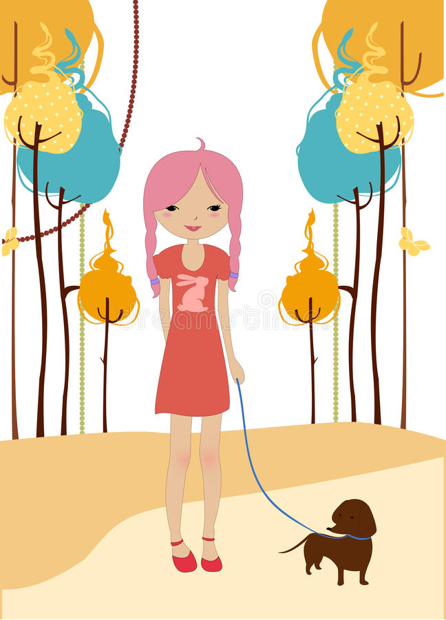Little young girl walking with the dog stock illustration
