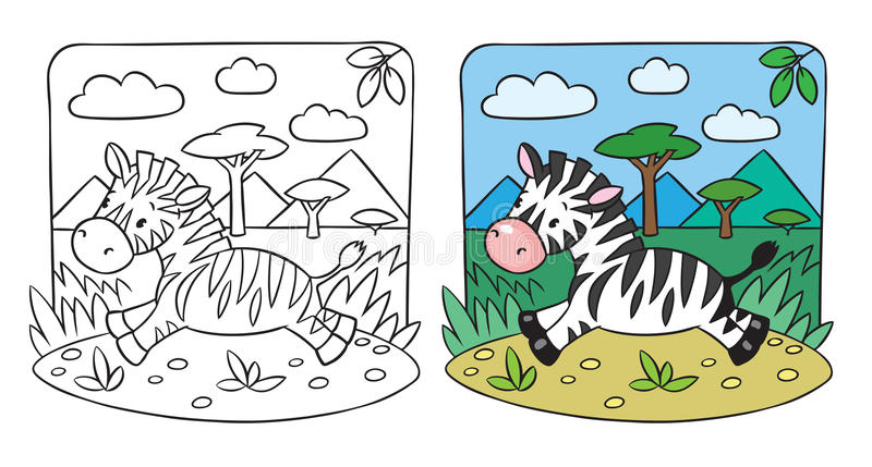 Little Zebra coloring book stock vector. Illustration of savanna ...