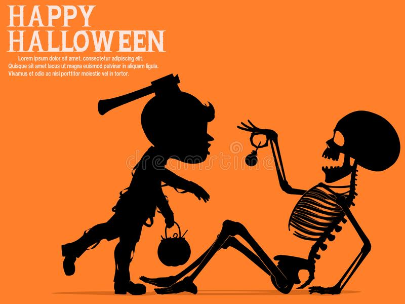 A little zombie boy is scaring the skeleton for some candy vector illustration