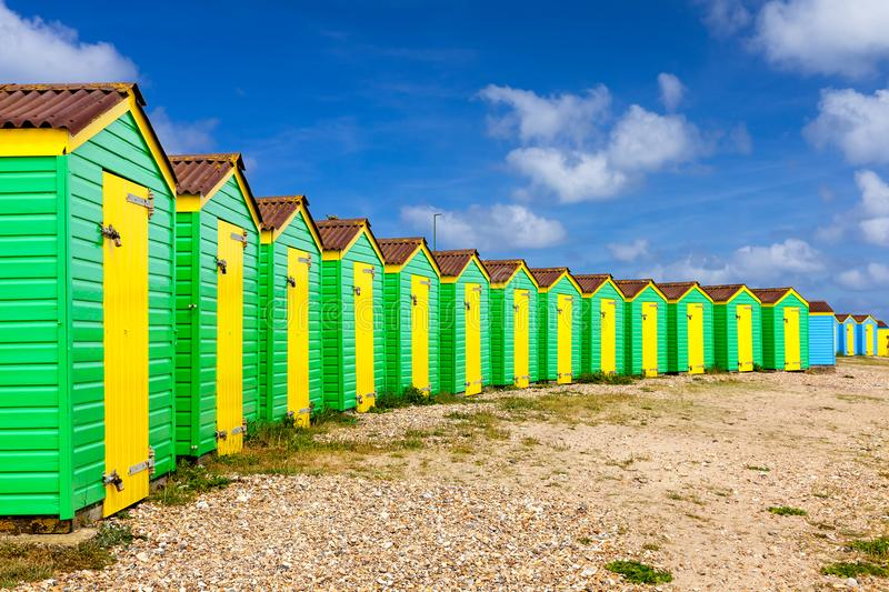 Littlehampton beach huts. Colourful beach huts at Littlehampton West Sussex England UK Europe stock images