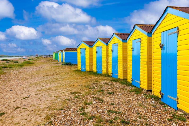 Littlehampton Strandhütten stockbild