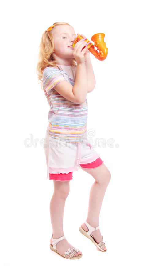 Littlle Girl With Toy Saxophone Royalty Free Stock Photography