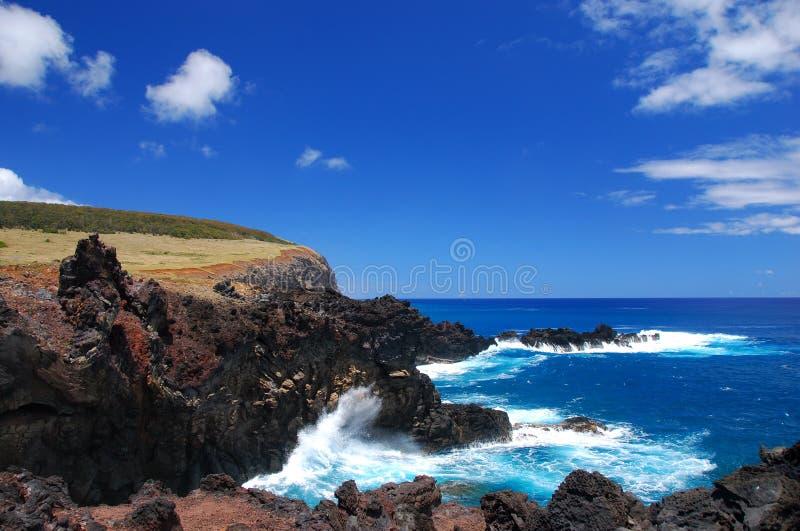 Littoral d'île de Pâques photos stock