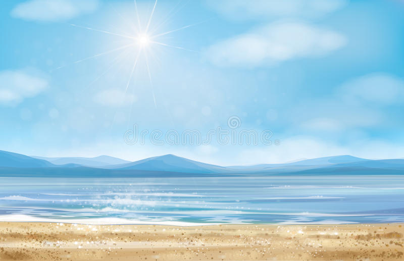 Littoral d'océan de vecteur, fond illustration libre de droits