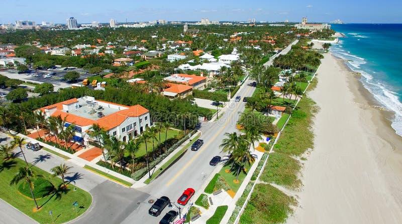 Littoral de Palm Beach, vue aérienne de la Floride image libre de droits