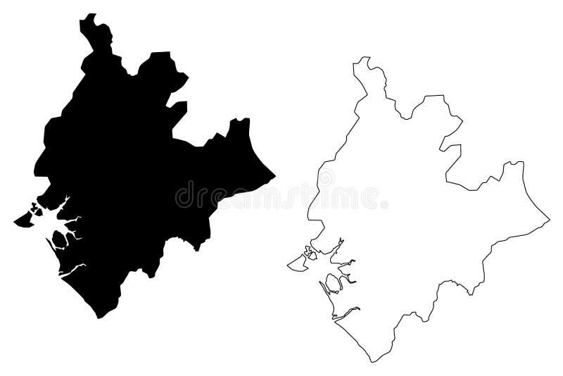 Littoral region mapy wektor royalty ilustracja