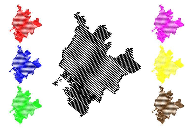 Littoral region?w regiony Cameroon, republika Cameroon mapy wektorowa ilustracja, skrobaniny nakre?lenia Littoral mapa ilustracja wektor