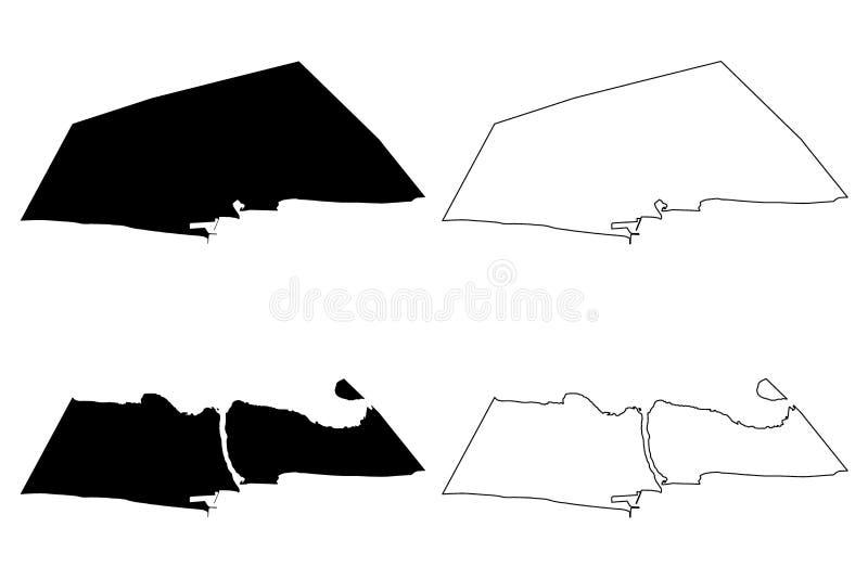 Littoral Wydziałowi działy Benin, republika Benin, Dahomey mapy wektorowa ilustracja, skrobaniny nakreślenia Littoral mapa royalty ilustracja
