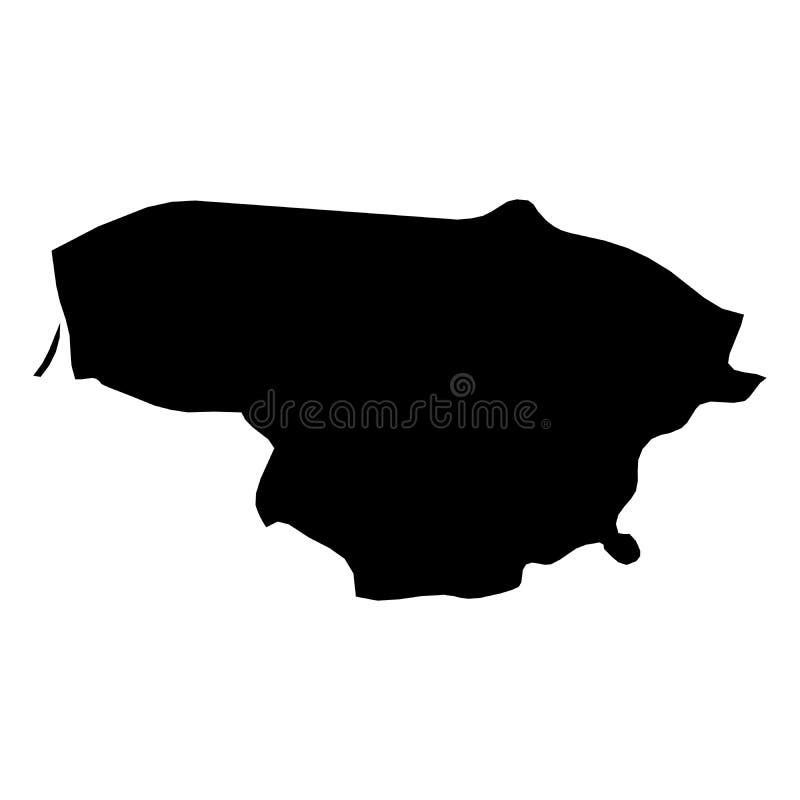 Lituânia - mapa preto contínuo da silhueta da área do país Ilustração lisa simples do vetor ilustração stock