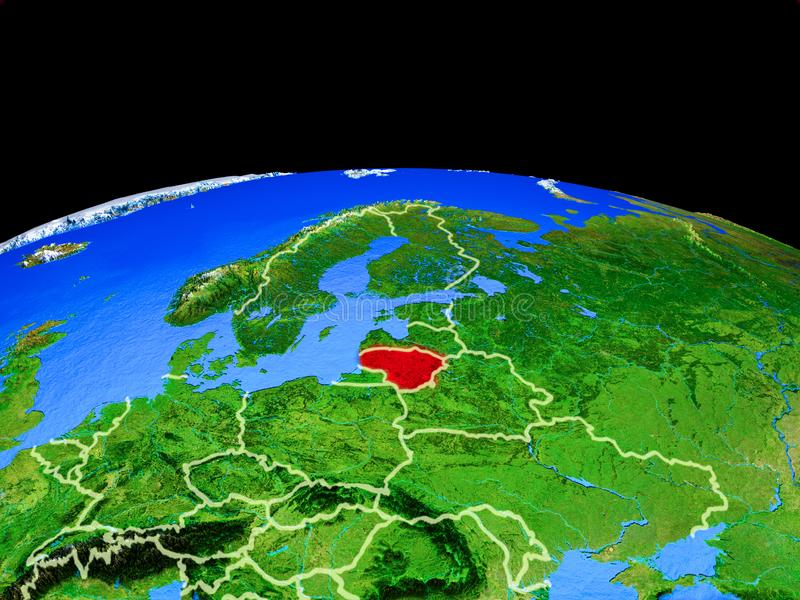 Lituania del espacio en la tierra ilustración del vector
