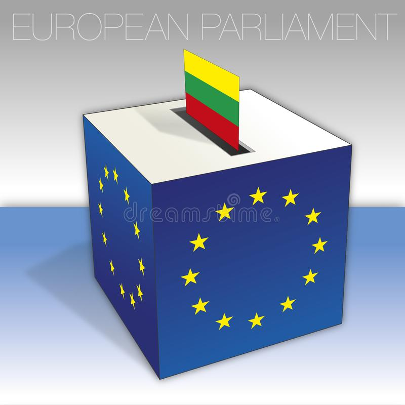 Lituania, elecciones del Parlamento Europeo, urna y bandera ilustración del vector