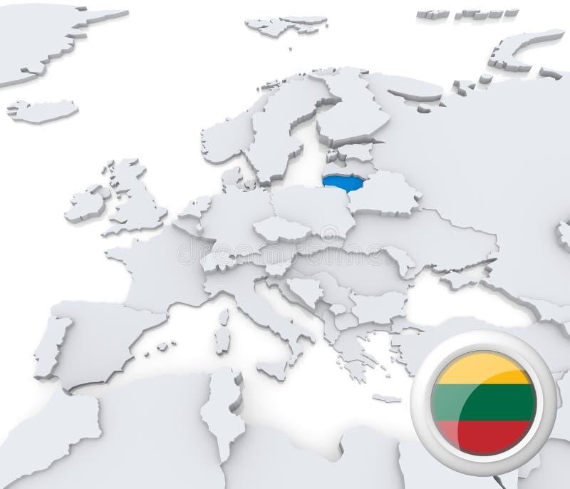 Lituania en el mapa de Europa ilustración del vector
