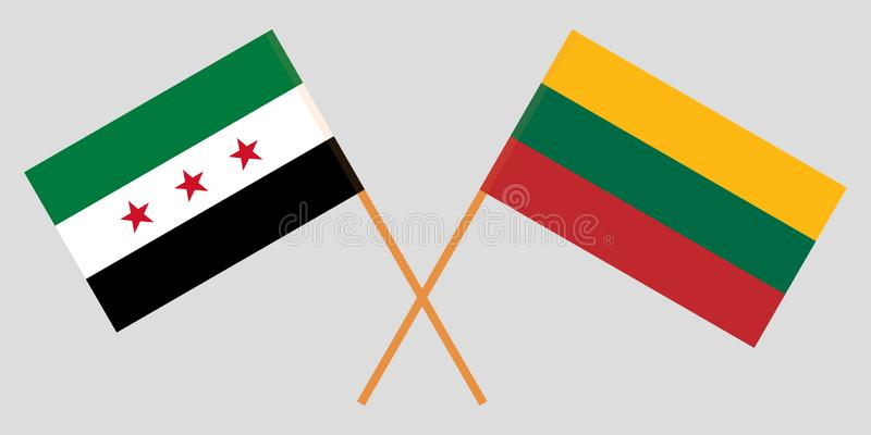 Lituania y gobierno provisional de Siria Las banderas lituanas y de la coalición Colores oficiales Proporción correcta Vector ilustración del vector