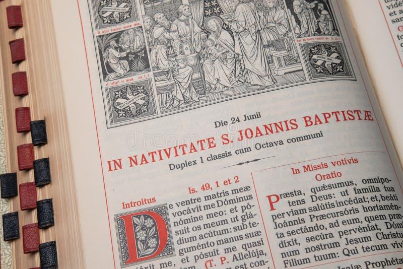 Liturgische Boekorde van Massa in Latijn - John Doopsgezind stock afbeeldingen