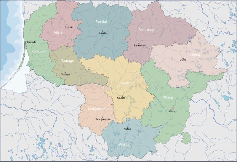 litwa mapa ilustracja wektor