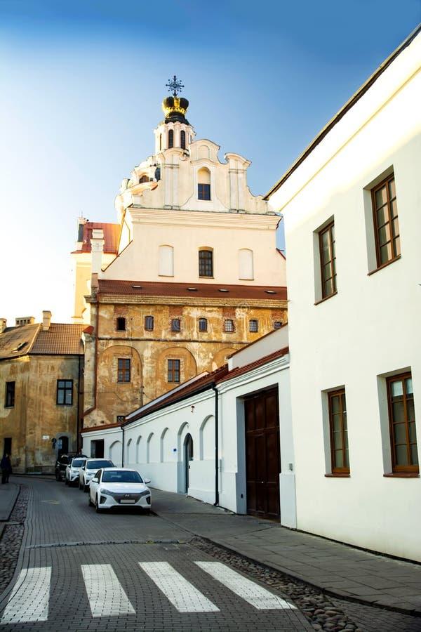 Litwa, Wilno, 2019-01-03, piękny widok na ulicę Wilna i widok panoramiczny Idealne miejsce spędzać czas z rodziną lub obraz stock