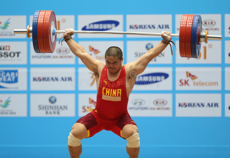LIU Hao of China. INCHEON - SEP 25:LIU Hao of China participates in 2014 Incheon Asian Games at Moonlight Festival Garden Weightlifting Venue on September 25 royalty free stock photography
