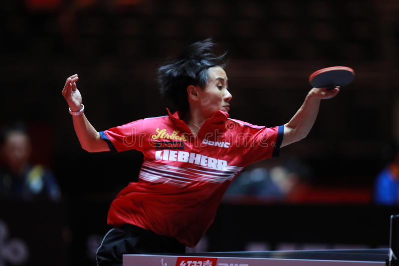 LIU Jia from Austria. World table tennis championships in Dusseldorf. 29 May 6 june 2017 stock photography