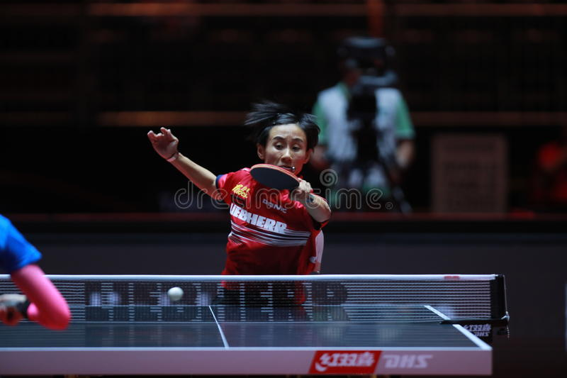 LIU Jia from Austria. World table tennis championships in Dusseldorf. 29 May 6 june 2017 stock image