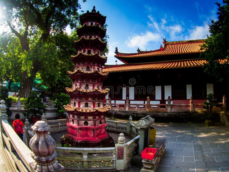 Liu-rong-si, pagode, Temple of The Six Banyan Trees, Guangzhou C fotografia de stock royalty free
