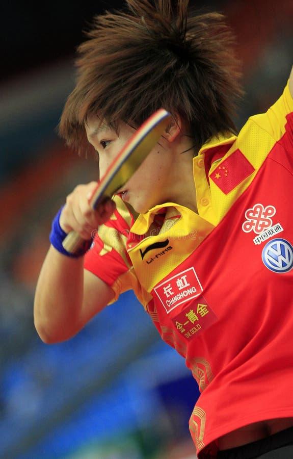 LIU Shiwen. HIRANO Sayaka against LIU Shiwen in the women's team 1/2 final at the LIEBHERR 2010 World Team Table Tennis Championships,Olympiysky Sports Complex stock photos