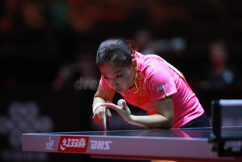 LIU Shiwen on serve. Women`s Singles semi-final world table tennis championships in Dusseldorf. 29 May 6 june 2017 royalty free stock photo