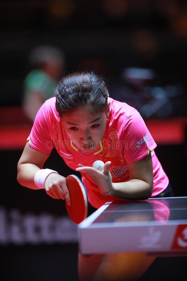 LIU Shiwen on serve. Women`s Singles semi-final world table tennis championships in Dusseldorf. 29 May 6 june 2017 stock images