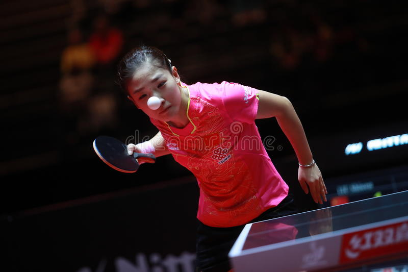 LIU Shiwen on serve. Women`s Singles semi-final world table tennis championships in Dusseldorf. 29 May 6 june 2017 stock image