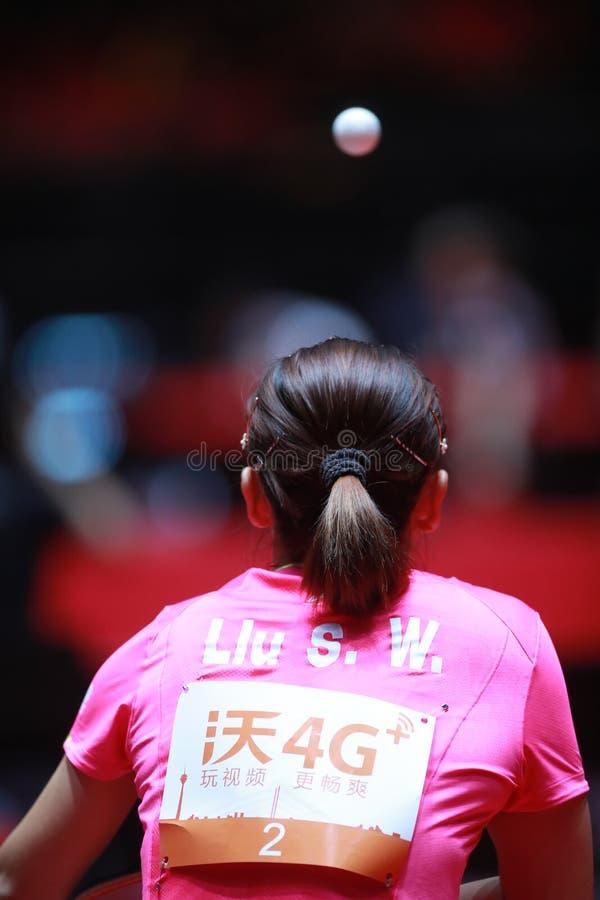 LIU Shiwen on serve. Women`s Singles semi-final world table tennis championships in Dusseldorf. 29 May 6 june 2017 royalty free stock image