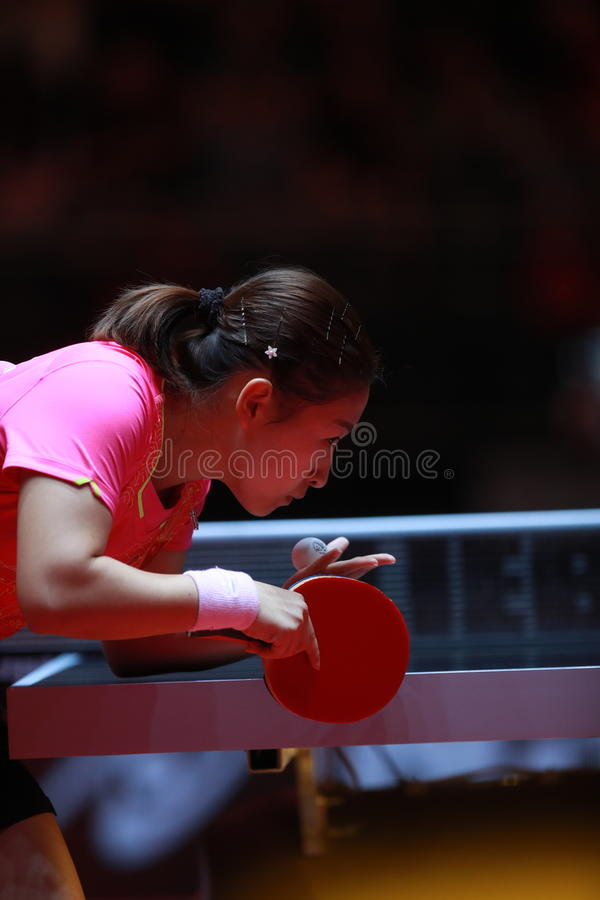 LIU Shiwen on serve. Women`s Singles semi-final world table tennis championships in Dusseldorf. 29 May 6 june 2017 royalty free stock images