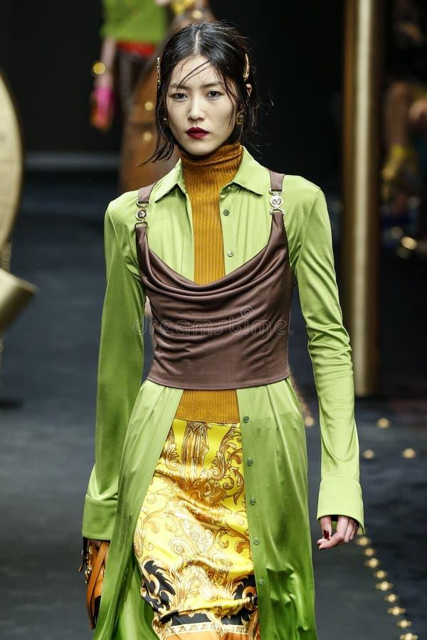 Free Liu Wen Walks The Runway At The Versace Show At Milan Fashion Week Autumn/Winter 2019/20 Stock Images - 143965964