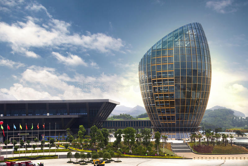Liuzhou International Convention and Exhibition Center. Which looks like a egg, symbol of business incubator, is a landmark of Liuzhou,Guangxi Province,China royalty free stock photo