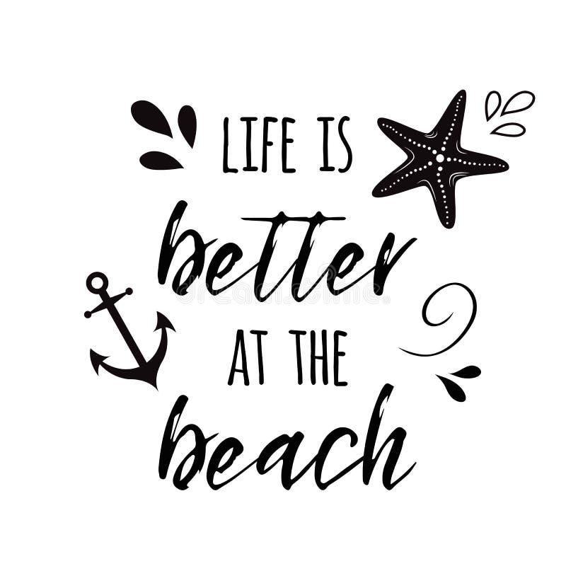 Liv är bättre på citationstecknet för semestern och för loppet för strandvektor det inspirerande med ankaret, vågen, snäckskalet, royaltyfri illustrationer
