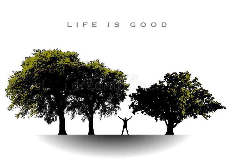 Liv är bra för denna glade man stock illustrationer