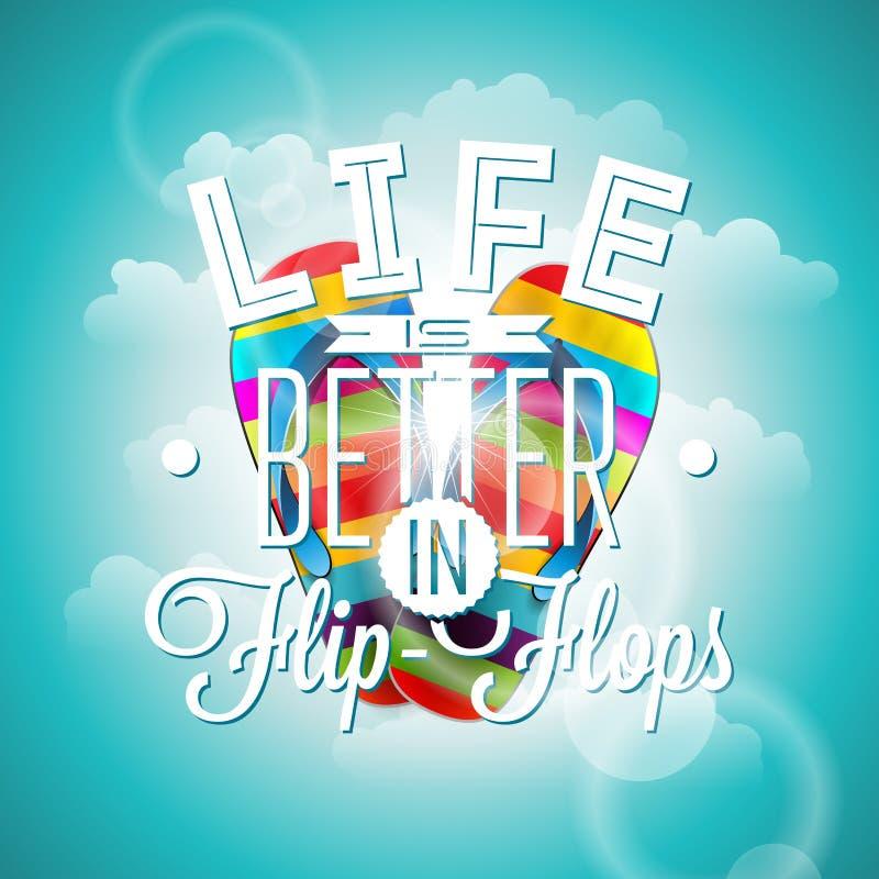 Liv är citationstecknet för betterinbadskoinspiration på blå bakgrund Beståndsdel för vektortypografidesign för hälsningkort och  stock illustrationer
