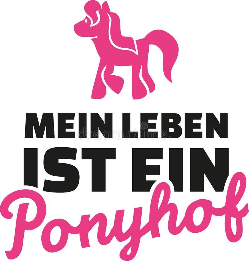 Liv är inte alla vapen och rosor Tysk som säger med ponnyn royaltyfri illustrationer