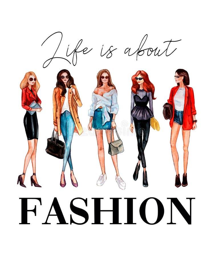 Liv är om modet-skjorta design med stilfulla flickor och bokstäver stock illustrationer